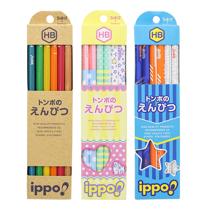 12pc/set Japan TOMBOW IPPO Students Wood Pencils Hexagonal Pencil HB/2B with Cute Pattern la special by promark 2bw 2b wood tip
