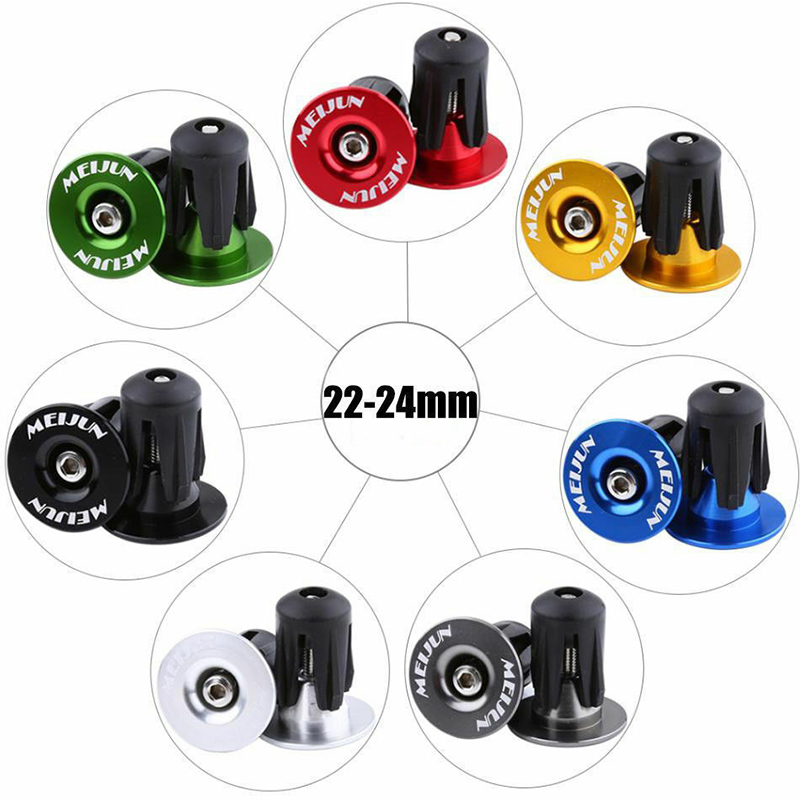 MEIJUN 1pair Bike Grip Handle Bar End Cap Aluminium Alloy MTB Handlebar Grips Plugs Caps For Bicycle Handlebar Accessory