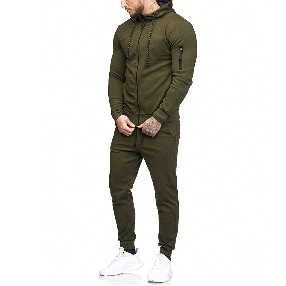 HTB1TGkZKf5TBuNjSspcq6znGFXah 2019 fashion Patchwork Zipper Sweatshirt Top Pants Sets Sports Suit solid color slim Tracksuit High Quality Pullover clothing