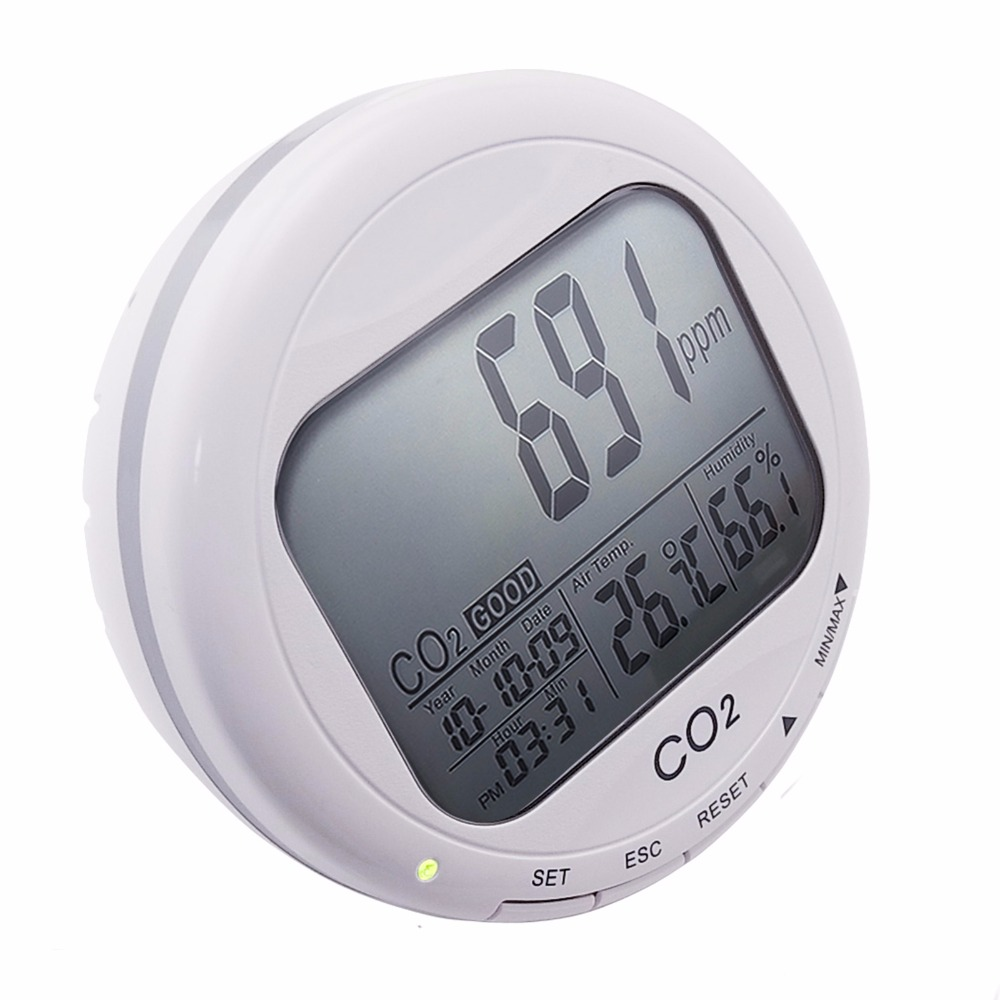 3-in1 CO2 Carbon Dioxide Desktop Datalogger Monitor Indoor Air Quality Temperature Relative Humidity RH 0~9999ppm Clock