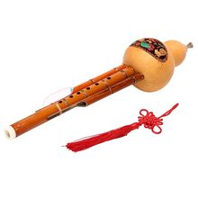 Chinese Handmade Bamboo Hulusi Gourd Cucurbit Flute Ethnic Musical Instrument Key With Case For Beginner Music Lovers(China)