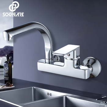 SOGNARE Wall Mounted Kitchen Faucet Single Handle Kitchen Mixer Taps Dual Holes Hot and Cold Water Tap 360 Degree Rotation D2203 goose neck bathroom kitchen faucet 360 rotation single handle kitchen mixer taps with hot and cold water black deck mounted