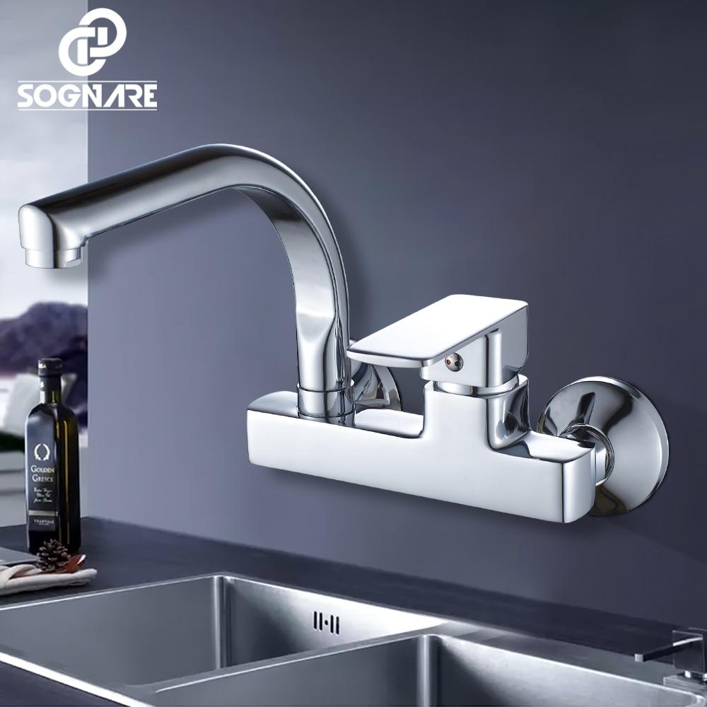 SOGNARE robinet de cuisine mural mitigeur de cuisine robinets double trous robinet d'eau chaude et froide 360 degrés Rotation D2203