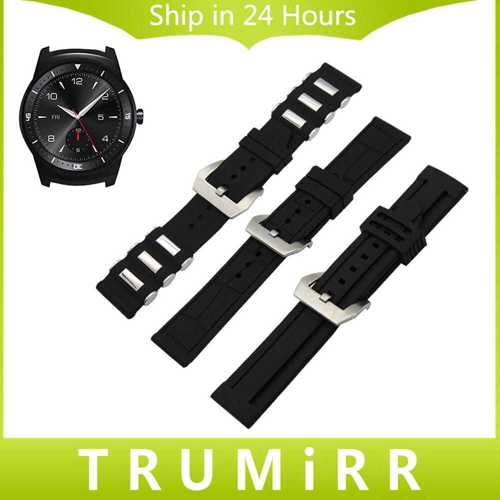 22mm Silicone Rubber Band for LG G Watch W100 W110 Urbane W150 Asus ZenWatch 1 2 Men Stainless Steel Buckle Strap Wrist Bracelet цены онлайн