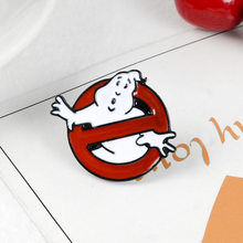 MINGQI Ghostbusters Emaille Pin White Ghost Badge Broche Bag Kleding Revers pin Cartoon Fun Film Sieraden Gift voor fans Vrienden(China)