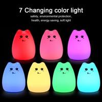 2017 Cute Cat Lamp Colorful Light Silicone Cat Night Lights 2 Modes Children Cute Night Lamp