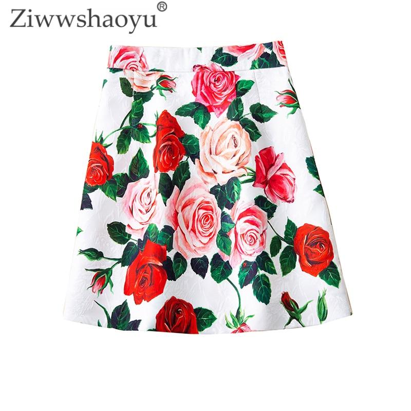 Ziwwshaoyu élégant Jacquard jupe empire rose imprimé Slim Mini jupes printemps et été nouvelles femmes
