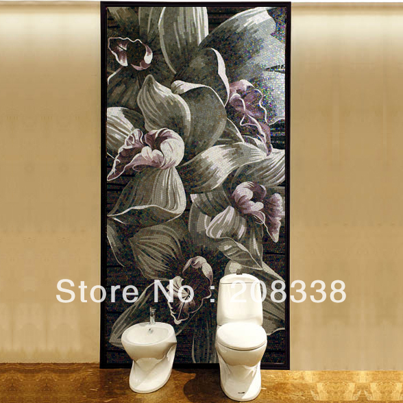 Awesome Decorative Floral Glass Mosaic Hand Made Tile Modern Art Wall - Home Decor