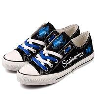 Unique Printing Sagittarius Constellation Men Casual Canvas Shoes Superstar Fashion Starry Night Luminous Walking Shoes