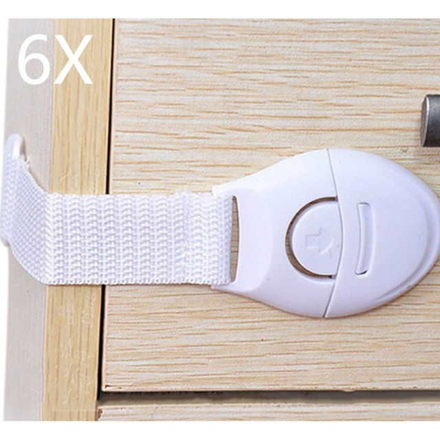 6pcs/Lot Drawer Door Cabinet Cupboard Toilet Safety Locks Baby Kids Safety Care Plastic Locks Straps Infant Baby Protection 529