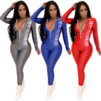 Fashion Style Rompers Women Jumpsuit Sexy Print Long Sleeve Bodysuit Women Sexy Playsuit YX9107
