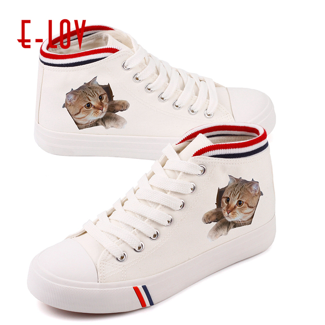 dffbece4fabe9 US $23.3 32% OFF|E LOV Cute Cat Print Shoes Kawaii Kitty Face Animal Print  Shoes Women Middle Top Lace Up Cartoon Shoes Women Cat Face Flats-in ...