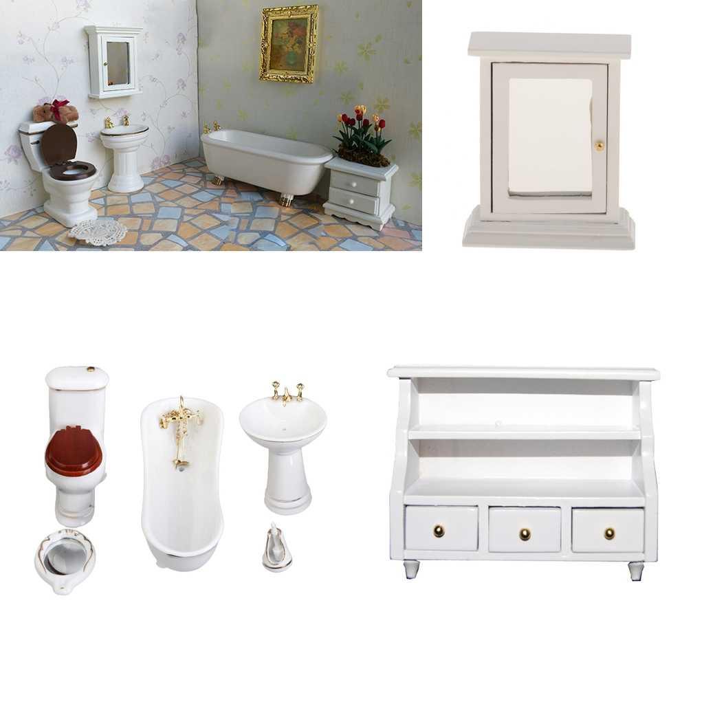 Maßstab 18:182 Puppenhaus Miniatur Bad Möbel Set, Porzellan