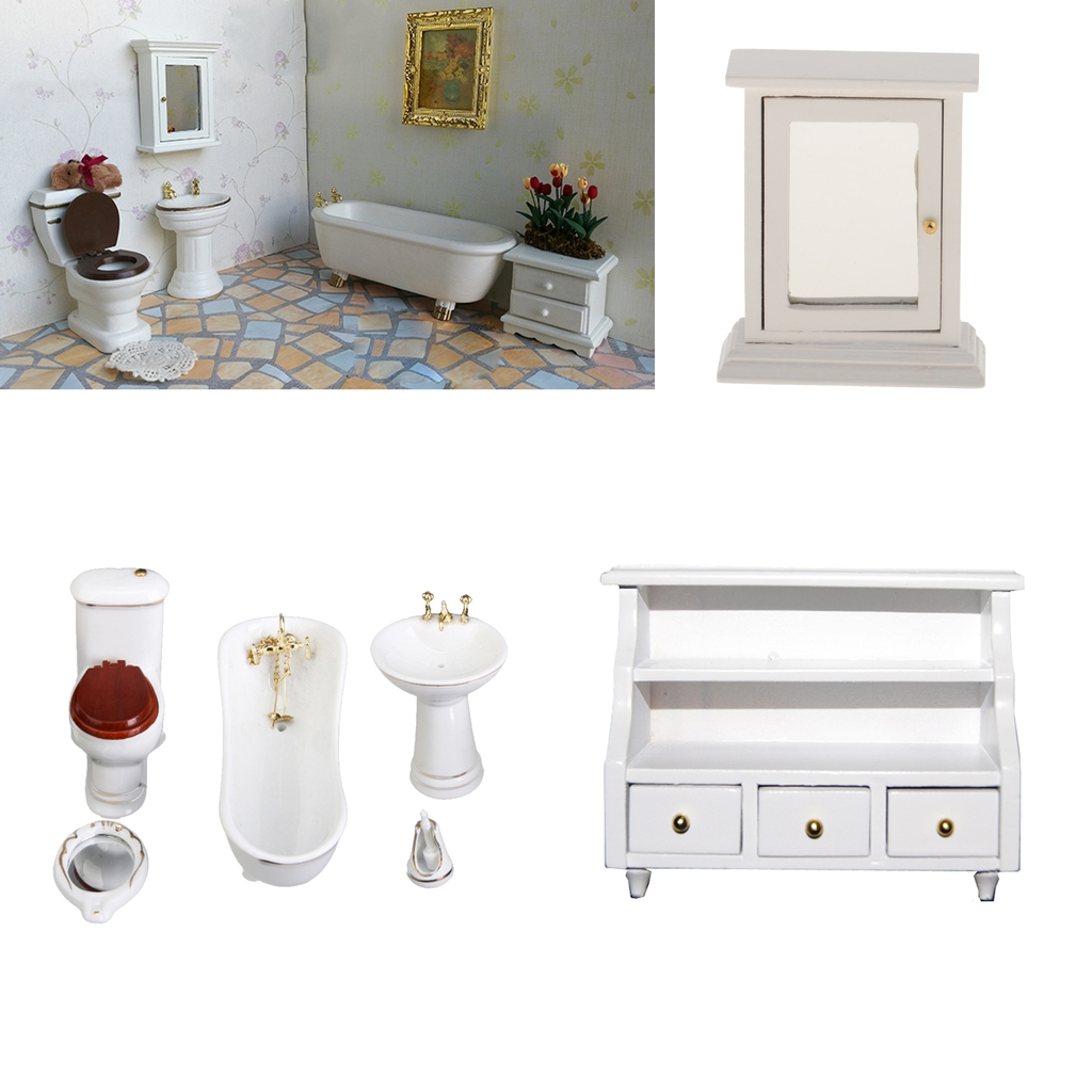 1:12 Scale Dollhouse Miniature Bathroom Furniture Set ,Porcelain Bathtub Model Set And Mirror Box Cabinet White