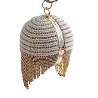 Round Design Beaded Women Rhinestones Luxurious Punk Small Lady Day Clutches Evening Bag Silver Gold