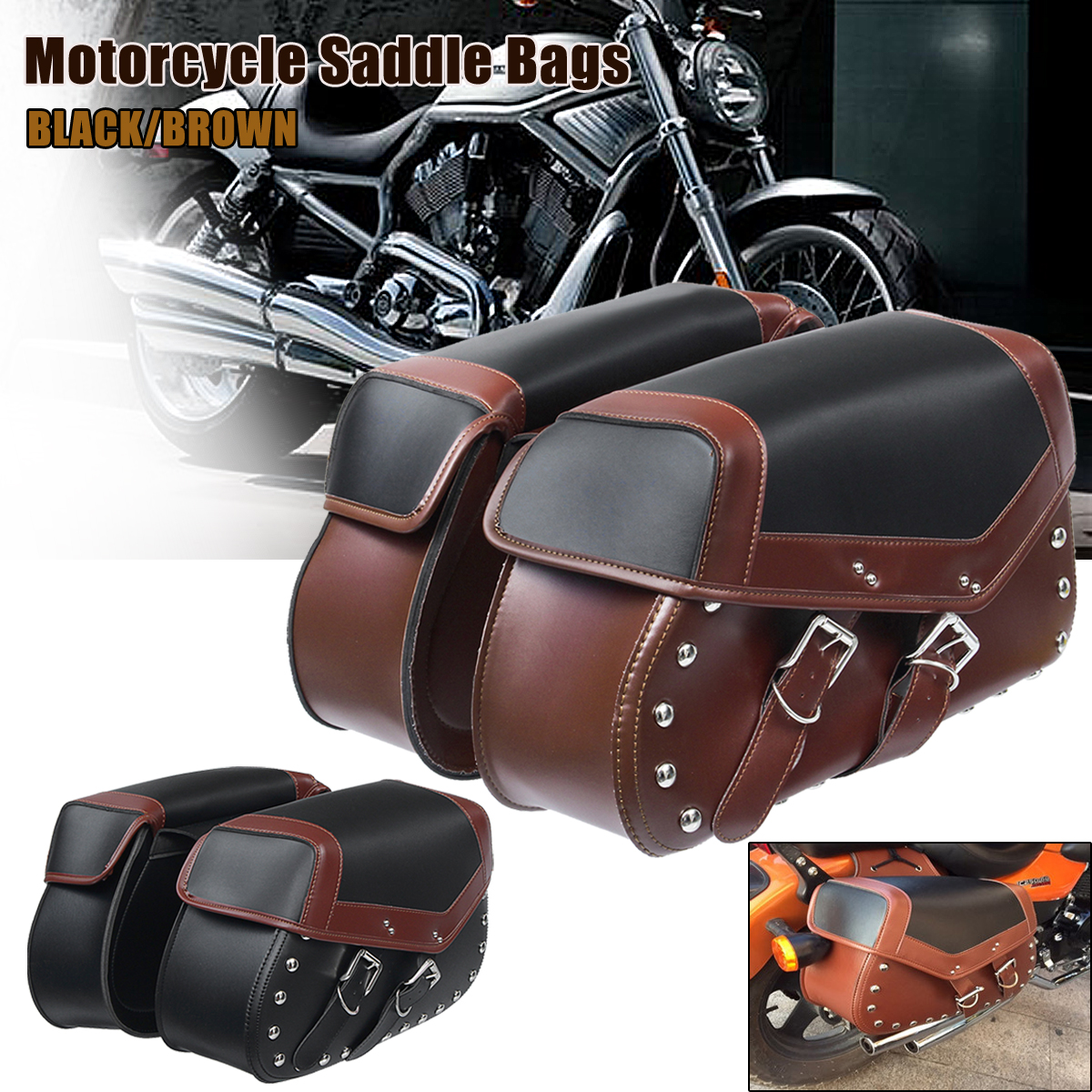 2 x Universal Motorcycle Saddle Bags Bike Side Storage Fork Tool Pouch for Harley for Honda