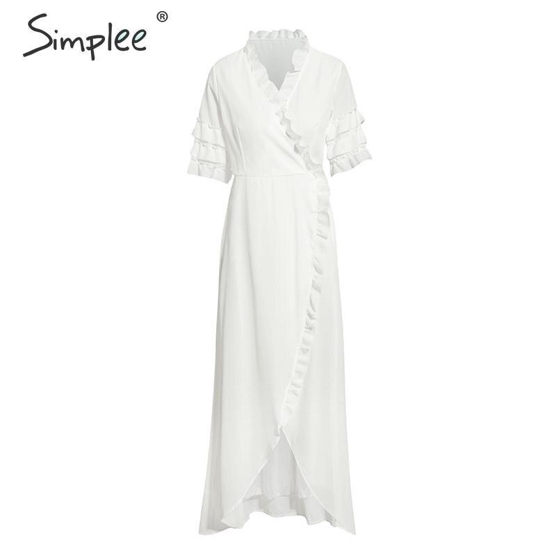 Simplee богемное гофрированное платье с v-образным вырезом женское богемное платье с подкладкой женское летнее белое платье с высокой талией д...