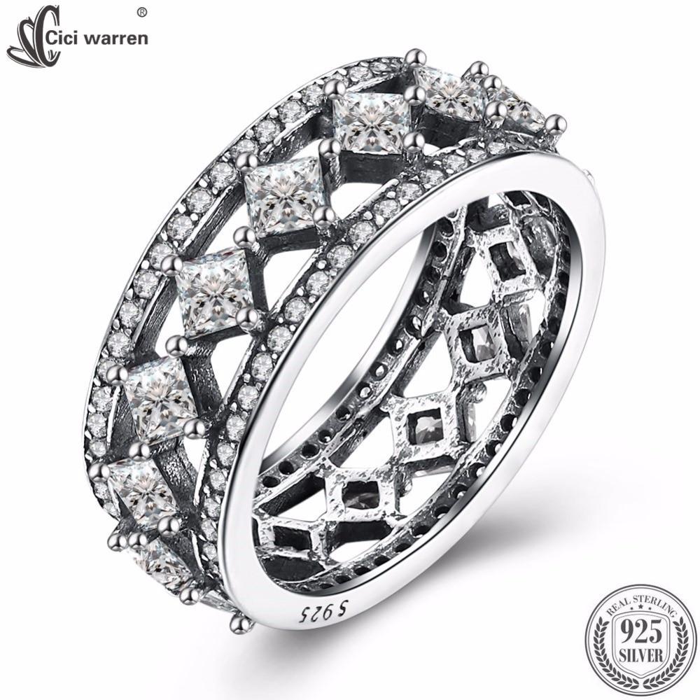 Fine Jewelry 100% 925 Sterling Silver Lozenge Rings Retro AAA+ Zircon Rings Wedding Rings For Women CWR047