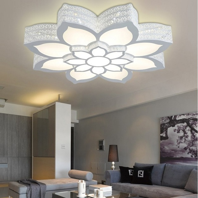 Living Room Light Target Clocks Fancy Iron Romantic Individuality Led Ceiling Lamp Bedroom Study Lotus Lantern Ac110 240v