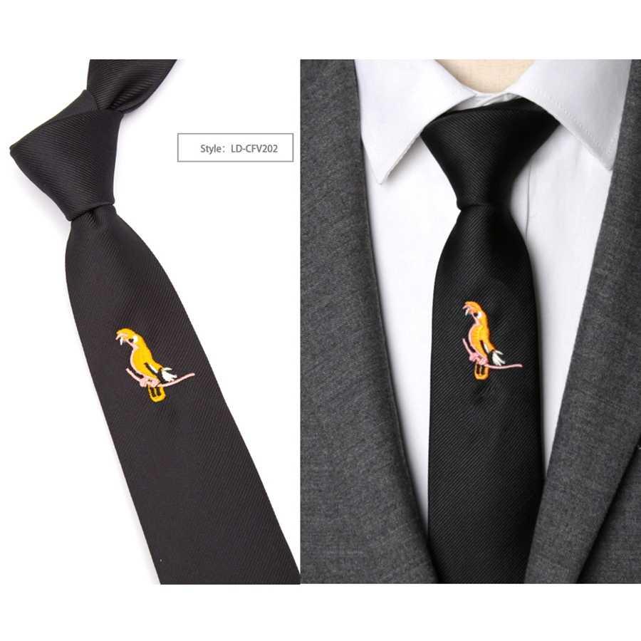 Gravata masculina gravata preta moda animal bordado laços para homem gravata fina festa de casamento lazer laço masculino vestido presente corbatas