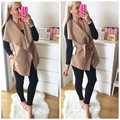 Autumn Winter Fashion Elegant Belted Lapel Women Vest Coat Sleeveless Solid Color Slim Fit Women Jackets Coat