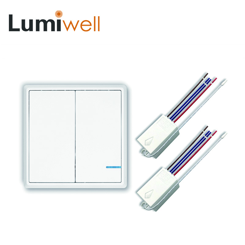 купить Lumiwell RF remote switch controll wireless switch no wiring receiver 2 gang two button indoor with FCC EMC LVD RoHS no wire по цене 2025.65 рублей