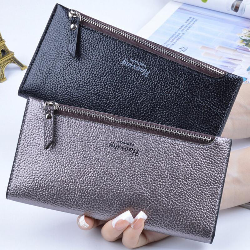 New Fashion Women Lady Leather Purse Long Wallet Bag Card Holder Case Handbag Clutch Black/ Silver fashion women lady faux leather handbag clutch envelope evening bag wallet purse party retro sexy elegant long solid wallet
