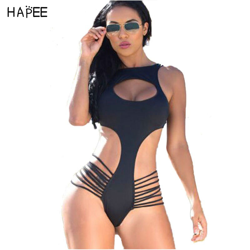 Strappy Black Open Front Monokini One-Piece Swimwear Summer Style Women Beachwear Bathing Suit Swimming Suit one piece swimsuit чехол для iphone 5 mitya veselkov ретро париж