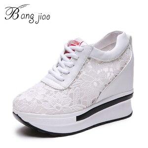 Image 1 - Frauen Vulkanisieren Schuhe Turnschuhe Plattform 10 cm Keile Ferse Spitze Cut outs Weiß Weibliche Casual Schuhe 2019 Frühling sommer Schuhe