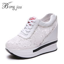 Womens Vulcanize Shoes Sneakers Platform 10cm Wedges Heel Lace Cut outs White Female Casual Shoes 2019 Spring Summer Shoes