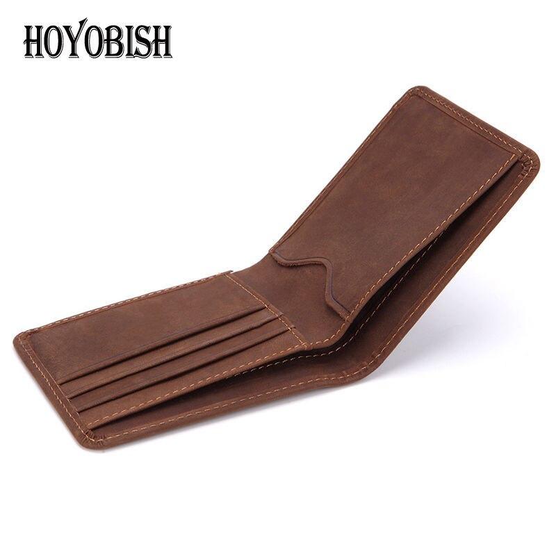 Hoyobish 2018 Braun Crazy Horse Leder Männer Brieftasche Hohe Qualität 100% Leder Dünne Brieftasche Geldbörse Männlichen Billetera Oh130 Herrenbekleidung & Zubehör