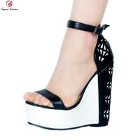 Original Intention Elegant Women Sandals Cut Outs Open Toe Wedges Heels Sandals Nice Black White Shoes