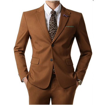 Custom New Design Notch Lapel Two Buttons Side Vent Brown Suits Business Slim Fit Wedding Suits Prom/Party Suits (Jacket+Pants)