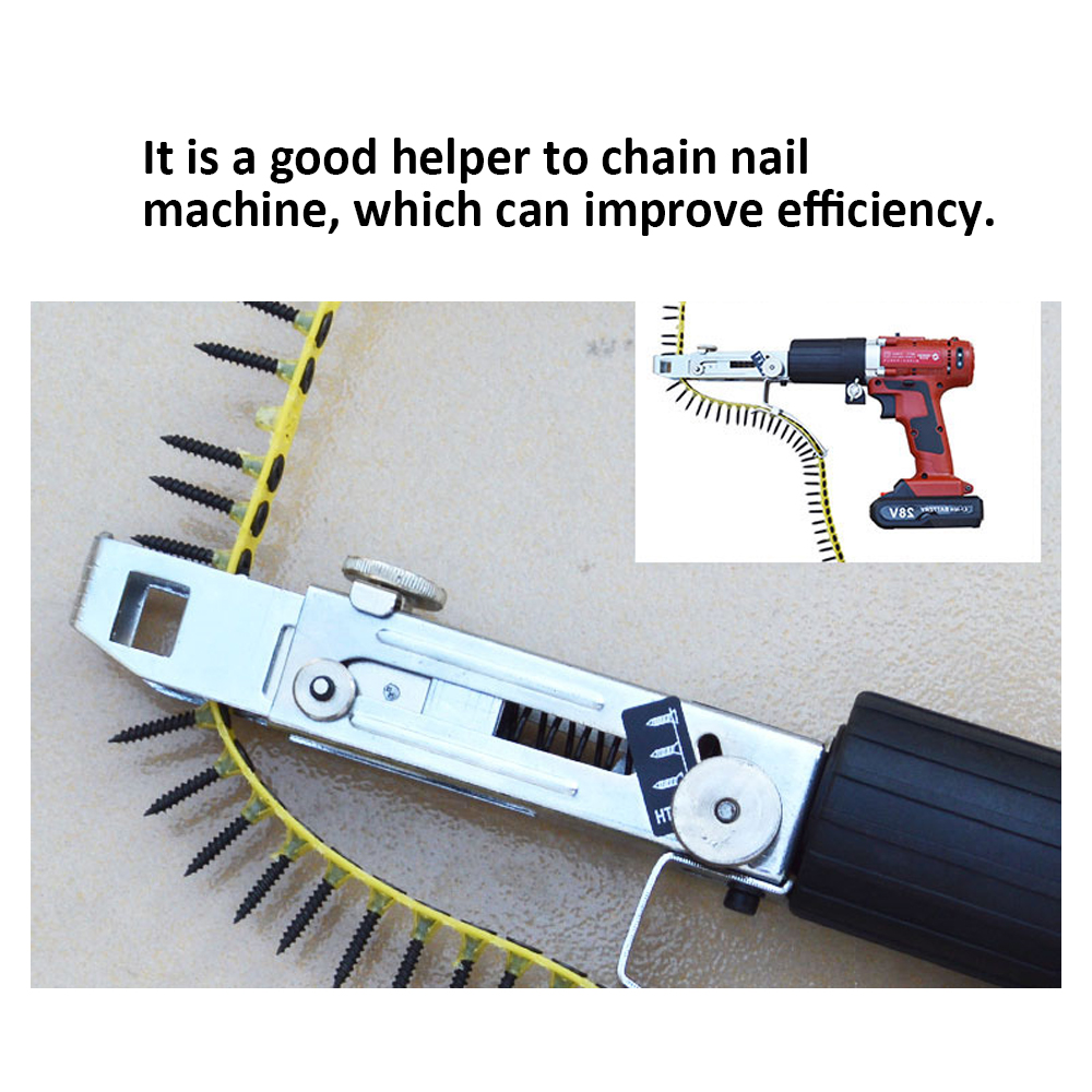Image 3 - Automatic Electric Drill Nozzle Adapter Nail Exit Bracket and Chain Nails Kit Household Tools Set Chain Nail Machine Accessories-in Nail Guns from Tools on