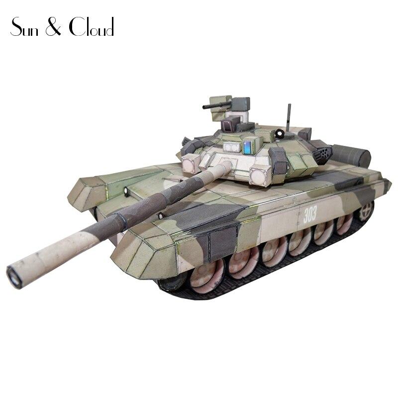 1:43 Russia 3D 22 X 8cm T-90 Battle Tank Third-generation Paper Model Assemble Hand Work Puzzle Game DIY Kids Toy