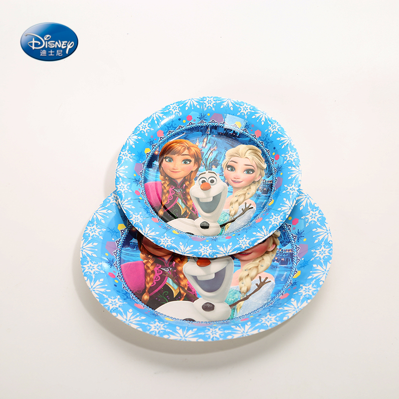 9inch 7inch  Frozen Theme Paper Plate 6pcs Dish Disney Elsa Princess Party Decoration Cartoon Happy Birthday Party Supplies