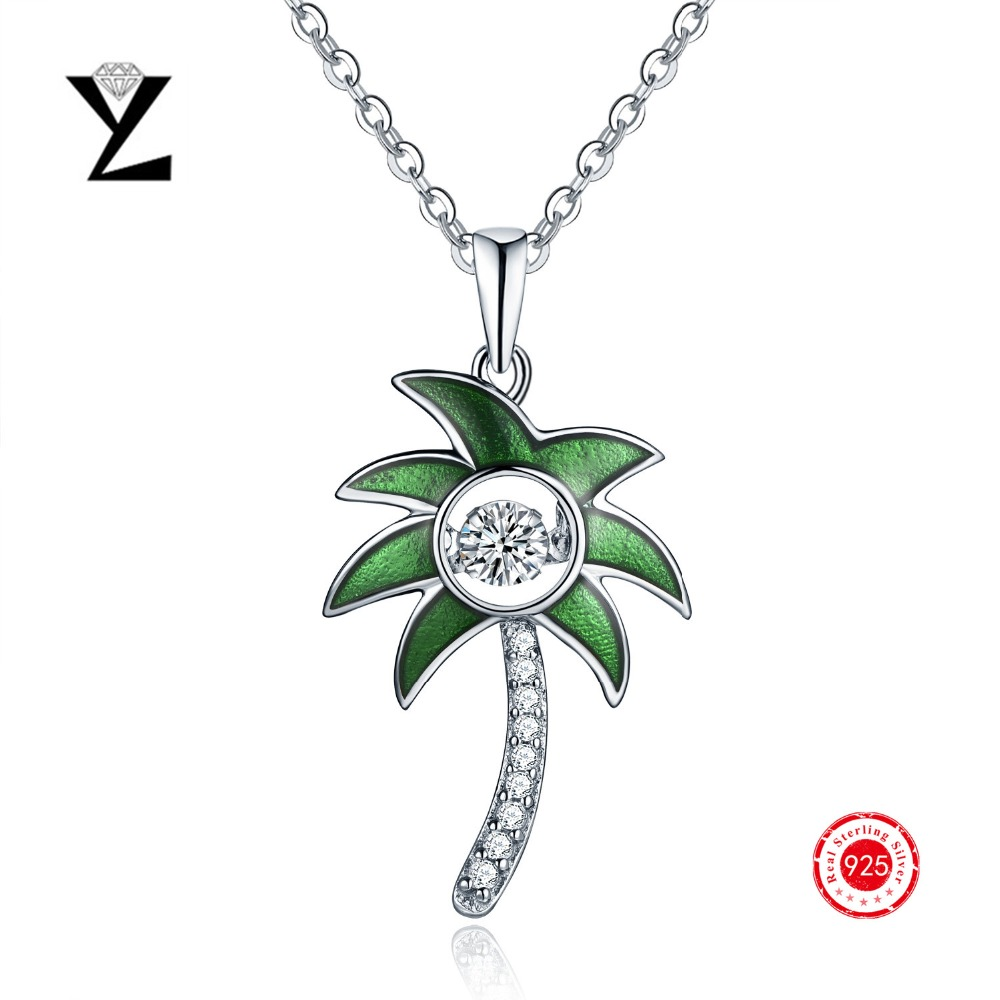 New Fashion 925 Sterling Silver Enamel Stone Pendant Dancing Cz Diamond  Gold Plated Necklaces For Women Sterlingsilverjewelry