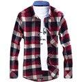 Franela Hombres Plaid Camisas Casual 2016 Nuevo Otoño Vestido de Lujo Delgado de Manga Larga de la Marca de Moda de Negocios Formal Camisas Calientes