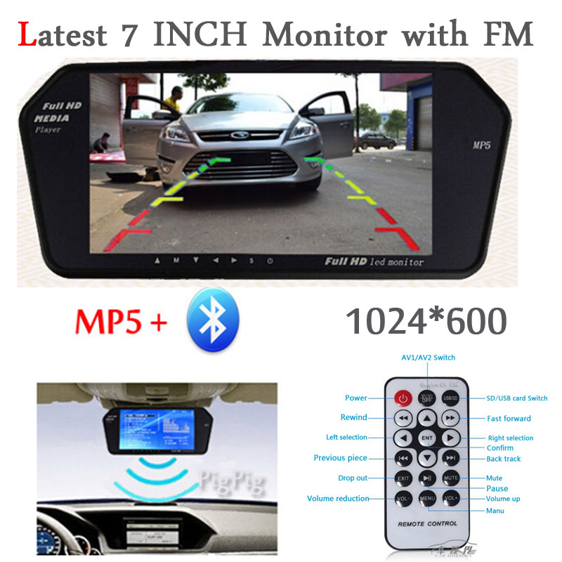 High Resolution 1024*600 Full 7'' TFT LCD Car Rear View Mirror Monitor Bluetooth/MP5 Usb/TF Slot Parking Assistance System цена