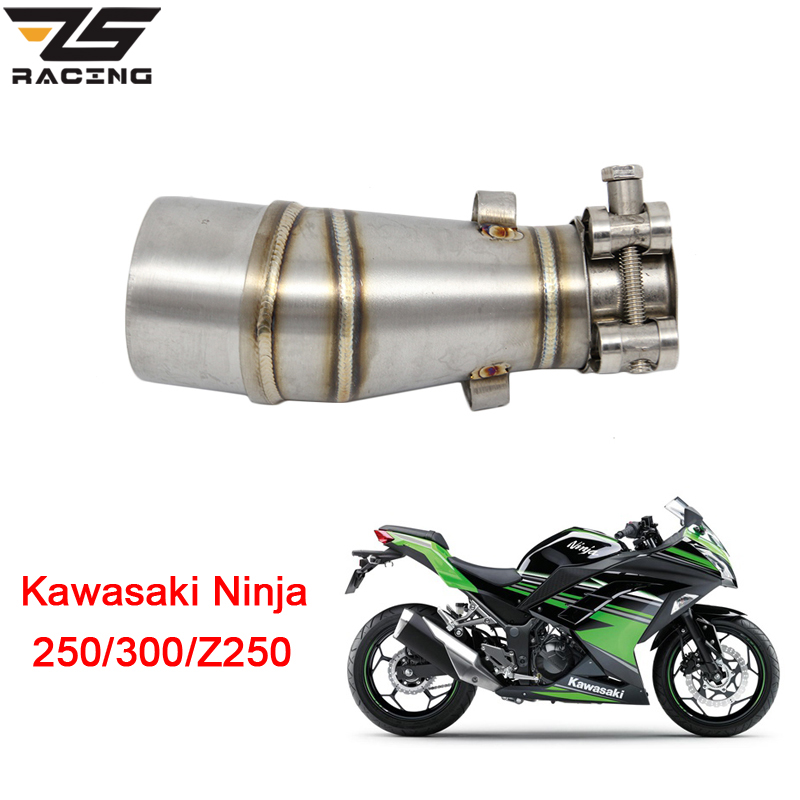 ZS Racing Motorcycle Exhaust Middle Pipe For Kawasaki Z250 2008-2015 Ninja 300 2013-2016 Ninja 250 2008-2012 Without Exhaust цена