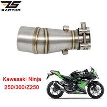 ZS Racing Motorcycle Exhaust Middle Pipe For Kawasaki Z250 2008-2015 Ninja 300 2013-2016 Ninja 250 2008-2012 Without Exhaust
