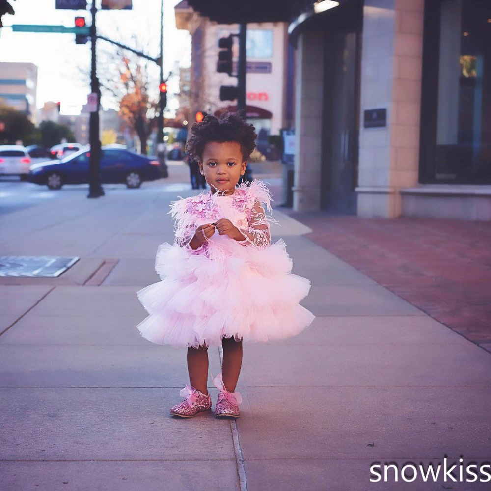 Pink african toddler girl dresses with lace Ostrich fur beaded flowers long sleeves tulle cupcake baby 1st birthday outfits pink lace up design long sleeves top and pleated design skirt two piece outfits