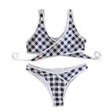 495efded6a (Ship from US) Perimedes Women Sexy Sling Lattice Print Bikini Set female  striped mesh swimsuit Brazilian Swimwear slim Beachwear Swimsuit#y60