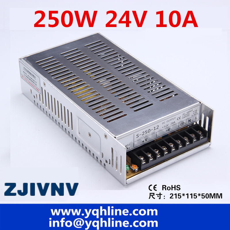 CE ROHS certification 24v 10a <font><b>250w</b></font> switching <font><b>power</b></font> <font><b>supply</b></font> with OEM and ODM offered s-250-24 industrial LED <font><b>power</b></font> source image