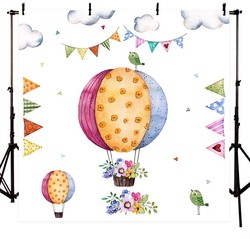 Balon z postaciami z kreskówek flaga chmury kwiat na urodziny i bociankowe tła winylu tkaniny wydruku komputerowego noworodka tło