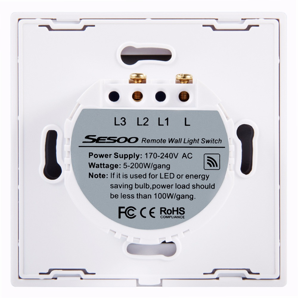 Eu Uk Standard Sesoo Remote Control Switches 2 Gang 1 Way Waterproof Wiring A Light Switch Glass Panel Wireless Touch In From Lights
