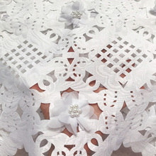 Free shipping (5yards/pc) high quality white African laser cut lace fabric with 3D flowers and beads for party dress CLP223