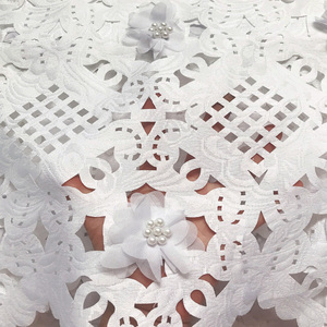 Image 1 - Free shipping (5yards/pc) high quality white African laser cut lace fabric with 3D flowers and beads for party dress CLP223