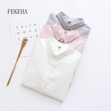 FEKEHA Office Women White Blouse Work Wear Shirt Autumn Cotton Long Sleeve Pink Grey Work Wear Ladies Tops Female Shirt Solid