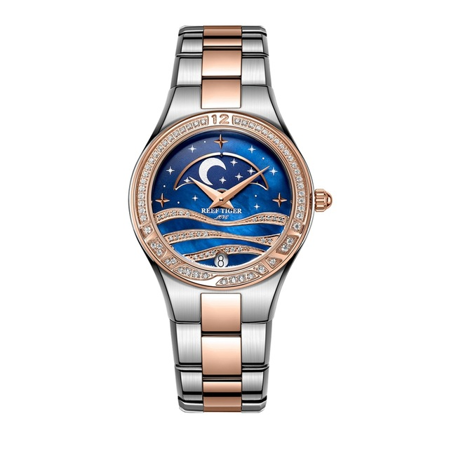 Reef Tiger Love Serier RGA1524 Stainless Steel Fashion Causal Business Watches for Women Ladies Moon Phase Quartz Wrist Watch